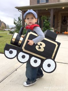 Crazy Wonderful: DIY train costume, boy's halloween costume, train conductor, cardboard train