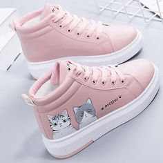 Boots Women Fashion Cute Cartoon Cat Thick Bottom Shoes Warm Plush Students Flat Lace -up Shoes Womens Winter Casual Non-slip # vogue Fashion Cute Shoes, Me Too Shoes, Sneakers Fashion, Fashion Shoes, Fashion Belts, Paris Fashion, Fashion Dresses, Nordstrom Boots, Flat Lace Up Shoes