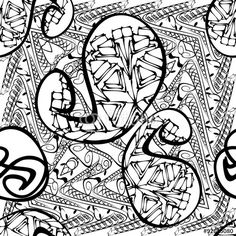 Vector: Abstract Outline Tangle Background Doodle Zentangle Floral Retro Seamless Pattern