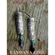 Goddess Athena Sterling Silver Drop Earrings by Bandana Girl | Bandana Girl