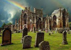 Scotland Melrose Abbey, 1st established 1136,