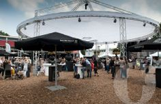 Outdoor event, open round tent accommodation