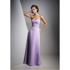 Sheath Sweetheart Ruched Chiffon Long Lavender Bridesmaid Dress