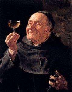 Grutzner, Eduard Theodor Ritter von (b,1846)- Monk w Wine, IIa