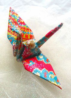 Bollywood in Thailand Peace Crane Bird Wedding Cake Topper Party Favor Origami Ornament Place Card Holder Table Decoration by localcolorist, $8.00