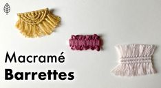 A step-by-step guide on how to make these super cute macrame barrettes! Half Hitch Knot, Macrame Cord, Pink Feathers, Dusty Pink, Fiber Art, Easy Diy, Super Cute, Rock, Pattern