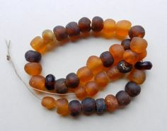 SALE Mixed Lot Of 38 Irregular Round Recycled Translucent Matte Glass Beads From Ghana In Light Amber And Browns