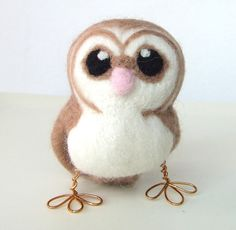 Needle-felted barn owl.  Look at the adorable feet.  Of course I had to have one!