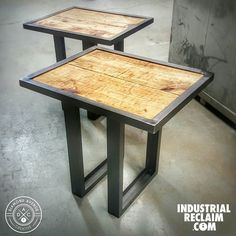 New Pair of modern steel and reclaimed wood side tables going to @junkstock in April! IndustrialReclaim.com