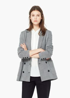 Double-breasted check suit blazer - Jackets for Women | MANGO