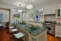 Supreme Kitchen Remodeling Choosing Your New Kitchen Countertops Ideas. Mind Blowing Kitchen Remodeling Choosing Your New Kitchen Countertops Ideas. Green Kitchen Countertops, Kitchen Countertop Materials, Green Cabinets, Diy Kitchen Cabinets, Painting Kitchen Cabinets, White Cabinets, Marble Countertops, Kitchen Backsplash, Kitchen Paint