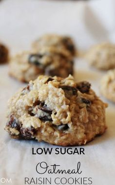 Thick and Chewy Low Sugar Oatmeal Raisin Cookies Recipe Glitter Inc Low Sugar Cookies, Low Sugar Desserts, 13 Desserts, Desserts Sains, Dessert Recipes, Healthy Desserts, Steel Cut Oatmeal Cookies, Low Calorie Cookies, Jelly Recipes