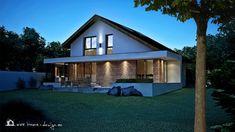 PROIECT CASĂ MICĂ CU MANSARDĂ | House Design Log Cabin House Plans, Cabin Homes, Modern Exterior House Designs, A Frame Cabin, Design Case, Home Fashion, Shed, Outdoor Structures, House Styles