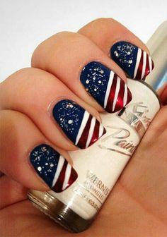 fingernägel design amerikanische flagge