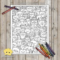 Cute Kitty Cats Printable Coloring Page Cool Doodles, Little Doodles, Doodle Monster, Monster Coloring Pages, Pencil And Paper, 3rd Birthday Parties, To Color, Printable Coloring Pages, Doodle Art