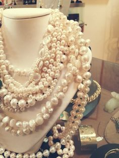 Beautiful mix of fresh water, cultured, and baroque pearls. #jewelry #necklace #pearls