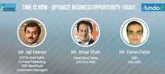 Once in a life time chance to meet & interact with Mr. Ajit Menon, EVP & Head Sales, Co Head Marketing, DSP BlackRock, Investment Managers | Mr. Amar Shah, Head Retail Sales, ICICI Pru AMC | Mr. Karan Datta, CBO, Axis AMC. You can watch them live tomorrow at 9.50 am - http://thefundoo.com/ichange