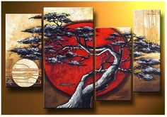 Abstract art of nature - Direct Art Australia, Price: $389.00, Shipping: Free Shipping, Size of Parts: 30cm x 55cm x 2 panels + 35cm x 70cm x 1 panel + 25cm x 60cm x 1 panel, Total Size (W x H): 120cm x 70cm, Delivery: 14 - 21 Days, Framing: Framed & Ready to Hang! 100% Oil Painting on Canvas! http://www.directartaustralia.com.au/