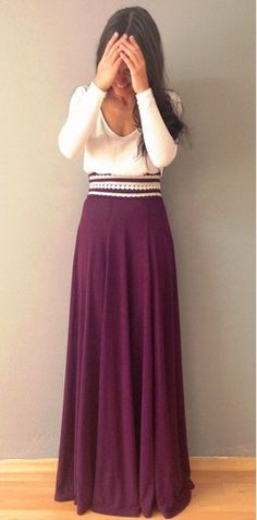 White top with maroon maxi skirt