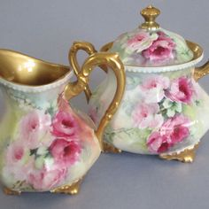 Antique Elite Limoges Porcelain HP Large Sugar & Creamer Decorated With Pink Roses And Gilt Trim