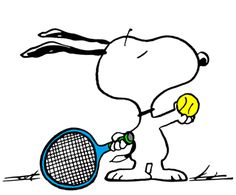 Snoopy - The World Famous Tennis Player Serving With New Balls (smaller)