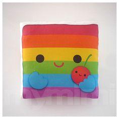 Decorative Pillow Mini Pillow Kawaii Toy Pillow  Rainbow by mymimi, $18.00