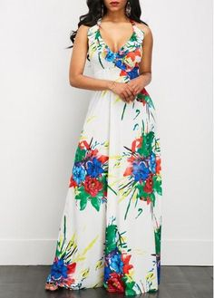 Pretty Printed White Halter Neck Maxi Dress