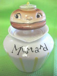 1950's  Lefton ESD Hamburger Head Mustard Condiment Jar Pixie Spoon