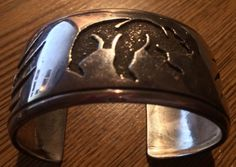 Signed Abraham Begay Hopi Overlay Bear & Claw Cuff Bracelet in Sterling Silver