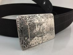 Happy Camper Belt Buckle  Etched Stainless Steel  by RhythmicMetal