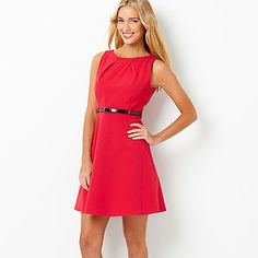 Hot Options Pleat Front Dress With Belt - Tango Red