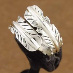 Sterling Silver Navajo Feather Wrap Ring - Navajo Wrap Ring - Feather Wrap Ring | Alltribes.com