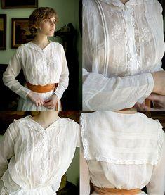 Edwardian cotton blouse with sailor layback collar