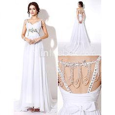 Sheath/Column Wedding Dress Sweep/Brush Train/Floor-length Straps - USD $99.99