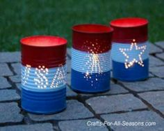 Directions for these tin can luminaries for Memorial Day or Fourth of July. this would be a super fun way to decorate the house or porches for any occasion, just make a new tin can theme and put it over a candle! 4. Juli Party, 4th Of July Party, Fourth Of July, 4th Of July Games, Patriotic Crafts, July Crafts, Holiday Crafts, Patriotic Party, Holiday Ideas