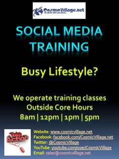 Social Media Training - If you have a busy lifestyle and can't afford any more time off work, come along to one of our Social Media Training classes. Outside core hours to suit your busy lifestyle. $50 fo 50 minute classes! See More: http://bit.ly/zdyn7s