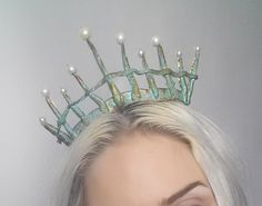 mermaid crown tiara headdress turquoise MADE TO ORDER por Fairytas