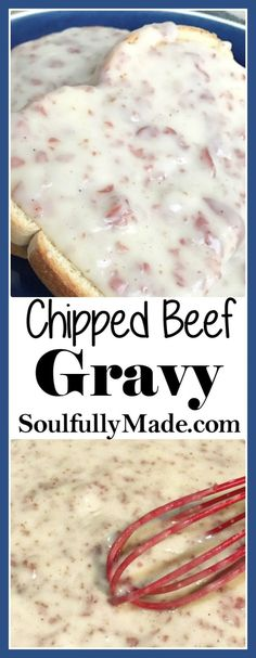 beef dishes Creamy gravy made with a flour roux mixed with salty dried beef makes this delicious Chipped Beef Gravy. Simple, inexpensive, and makes the perfect dish breakfast, lunch or dinner! Chip Beef Gravy, Beef Gravy Recipe, Pierogi Recipe, Cream Chipped Beef Recipe, Creamed Chipped Beef, Chipped Beef Dip, Hamburger Sauce, Dried Beef Recipes, Cooking Recipes
