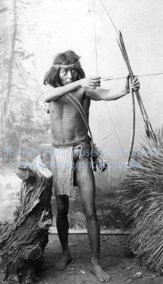 Apache Man with War Bow & Arrows, c. 1880s ck