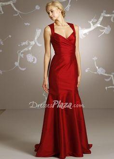 red dupioni sleeveless trumpet v neck floor length keyhole back bridesmaid dress  Possible Lucy Saxon dress