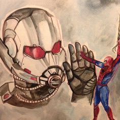 I really want to see these two on the same team. #antman #scottlang #giantman #spiderman #spidermanhomecoming #antmanandthewasp #civilwar #paulrudd #tomholland #peterparker #watercolorpainting #watercolor #art #painting #fanart #marvel #marvelart #marvelfanart #actorportrait #civilwarfanart #captainamerica #teamironman #teamcap #captainamericacivilwar #spidermanfanart #antmanfanart #paulruddfans #tomhollandfans