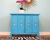 Mid Century TURQUOISE Blue Vintage Mini CREDENZA BAR Cabinet