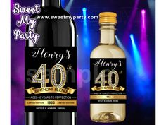 40th Birthday Party wine labels,Gold diamonds 40th Birthday Party wine labels,(14)