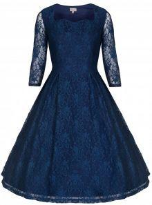 LindyBop krajkové šaty Lisette, tmavě modré