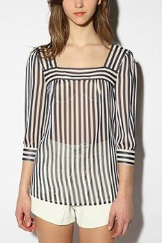 Celebrities who wear, use, or own Pins and Needles Striped Chiffon Blouse. Also discover the movies, TV shows, and events associated with Pins and Needles Striped Chiffon Blouse. White Shirts Women, Blouses For Women, White Ruffle Blouse, Pretty Little Liars Fashion, Urban Outfitters, Moda Chic, Red Blouses, Blouse Online, Chiffon Tops