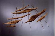 """""""FLIGHT""""   date palm, wood and waxed linen"""