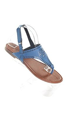 dd445d7b7 Hadari Womens Navy Wrap Around Velcrow Strap Thong Flat Sandal     You can  find