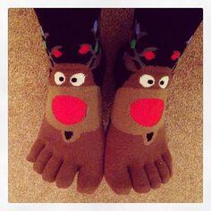 #socks #Christmas #Christmassocks #sockswithtoes #Rudolphsocks #reindeersocks #toesocks #sillysocks #reindeer #Rudolph