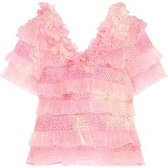 Ryan Lo - Tiered Sequined Tulle Top (19,475 INR) ❤ liked on Polyvore featuring tops, pink, tiered ruffle top, pink top, pink embellished top, frill top and ryan lo