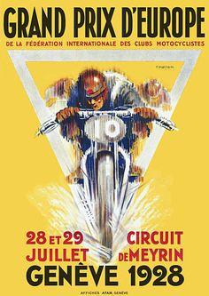 European Motorcycle Grand Prix 1920s Vintage Posters Prints
